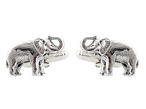 (Men's Elephant Cuff Links - 925 Sterling Silver, 1 Pair Cufflinks )