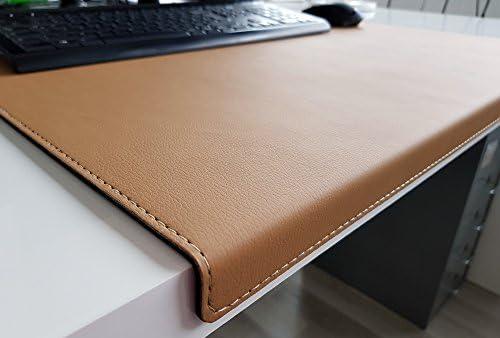 Gewinkelte Schreibtischunterlage mit Kantenschutz sanft lux Leder 70 x 47 Beige