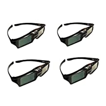 4pcs 3D Active Glasses Coolux SonyTV Models Replace to X940C, X930C, X910C, W850C, W800C, TDG-BT500A, TDG-BT400A TVs(USB Rechargeable Battery, Working 70-80hrs with Full Charge)