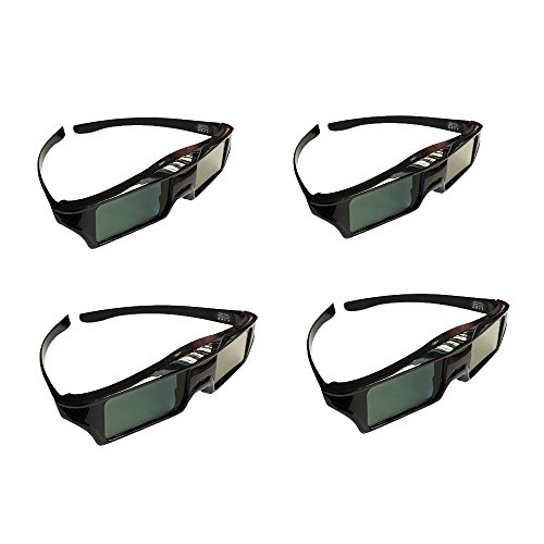 4pc Active Shutter DLP-LINK 3D Glasses for Acer ViewSonic BenQ Vivitek Optoma Projectors by Coolux