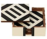 # 1 Drink Coasters - Retro Drink Coasters / Pads - SouvNear Coasters Set with Holder for Drinks (Set of 4) - Square Handmade Wooden Coasters - Dinnerware Decor