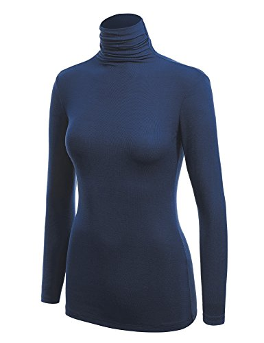 WSK1030 Womens Long Sleeve Ribbed Turtleneck Pullover Sweater S (Blue Turtleneck)
