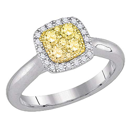 14k White Gold Yellow Diamond Canary Cluster Ring Fashion Band Cocktail Style 1/2 ct