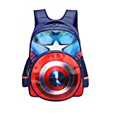 Waterproof Kindergarten Child Book Bag Durable Boy School Bags for Kid Girl Elementary Student Backpack Bookbags for Children (Captain A, Large)