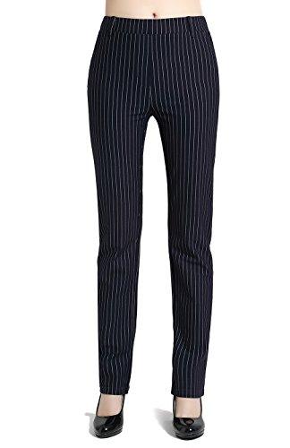 [BodiLove Women's Straight Leg Pinstripe Performance Dress Pants Navy Blue M] (Navy Pinstripe Dress)