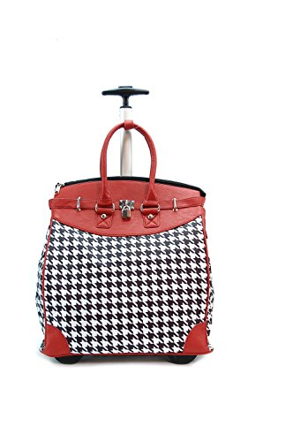 - ALFA Bags Mad Red HOUNDSTOOTH Rollie Tote (Foldable), 16X 9X16