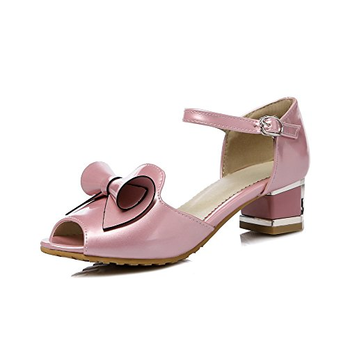 Amoonyfashion Mujer Peep Toe Zapatos De Tacón Bajo Material Suave Sandalias De Hebilla Sólida Rosa