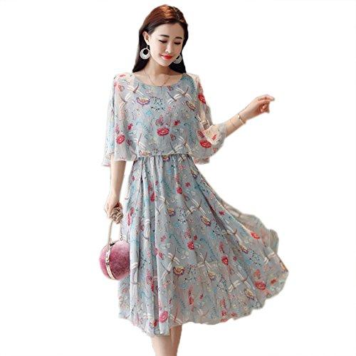 Blue Scoop Dresses 4 Women s Sleeve Waist cotyledon 3 Neck High Printed w4RHXPWWAq