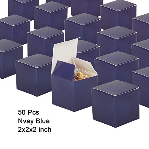 Candy Boxes Navy Blue Small Gift Boxes 2x2x2 inch,50pcs,Square Paper Treat Boxes Party Favor Boxes for Wedding,Bridal Shower,Birthday,Baby Shower,Anniversary,Party Supplies -