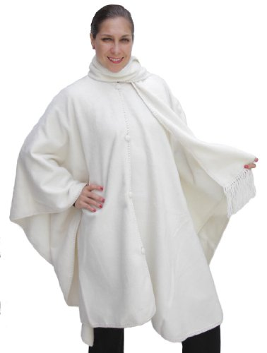 Alpaca Wool Cape Cloak with matching Scarf, Ivory