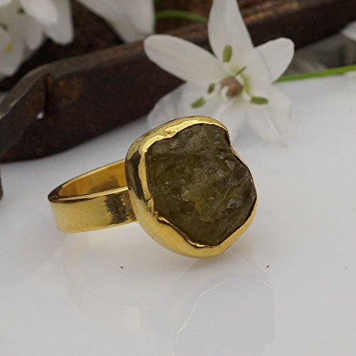 Sterling Silver 925k Unique Rough Yellow Garnet Solitare Ring By Omer 24k Gold Over Handmade Size 6.50 (Solitare Style Ring)