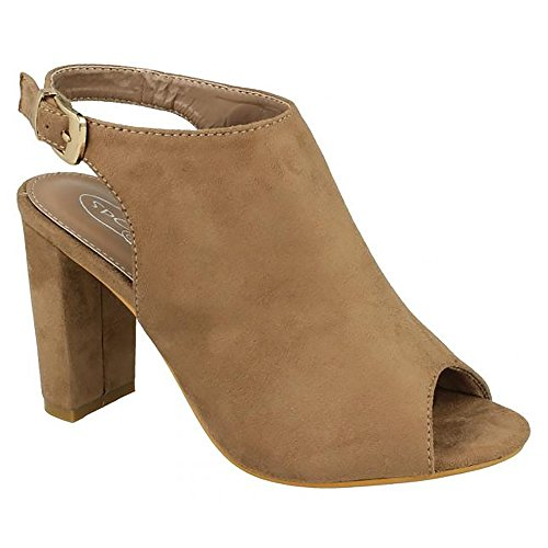 Taupe Womens Ankle Peeptoe High Buckle Spot On Ladies Heels Covered qCnAB