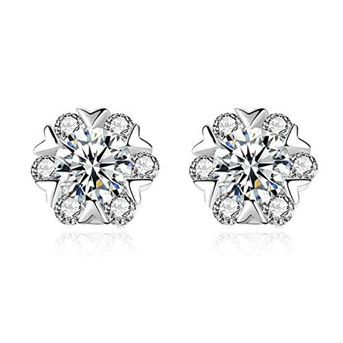1 Pairs Earrings,10mm Earrings for Women18K White Gold Plated Round Cubic Zirconia Stainless Steel Anti-Allergy Earrings
