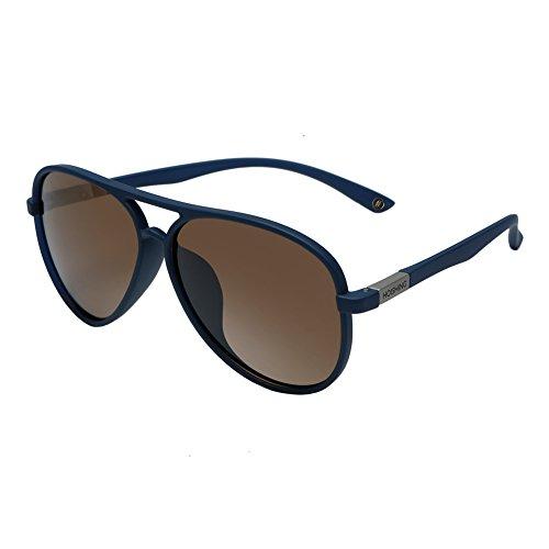 (HOISHING Polarized Retro Aviator Sunglasses for Women Men UV 400 Protection Plastic Frame with Metal Brown Lens Round Lenses)