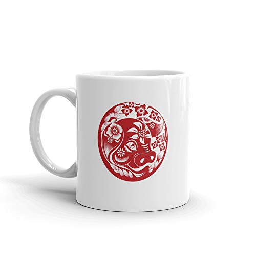 Chinese Zodiac Sign Year Of Pigred Paper Cut Pighappy Chinese New Year 2019 Year Of The Pig Coffee Mugs 11 Oz Ceramic