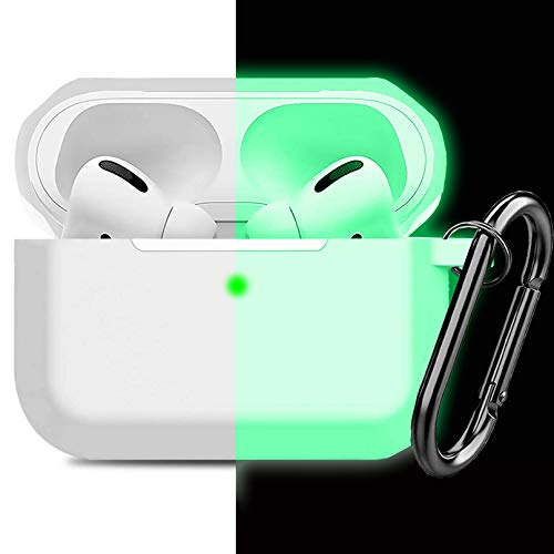 Compatible AirPods Pro Case Cover Silicone Protective Case Skin for Apple Airpod Pro 2019 (Front LED Visible) Clear Nightglow Green