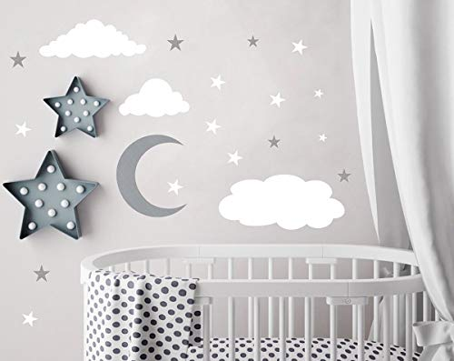 Clouds Wall Decals Moon and Stars Wall Decal Kids Wall Decals Wall Stickers Peel and Stick Removable Wall Stickers Baby Room Decoration Good Night Nursery Wall Decor Baby Nursery Wall Decals