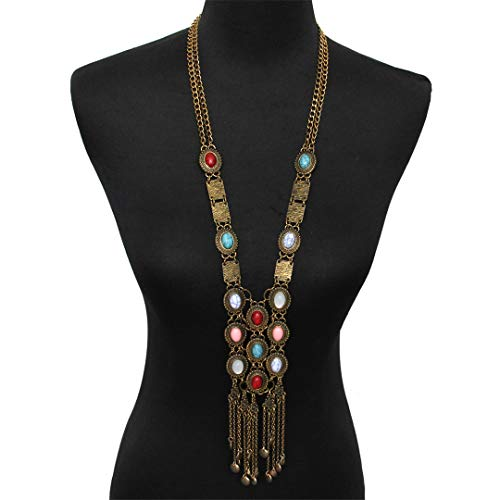 MULFAHOUYQ Bohemia Style Antique Long Pendant Necklaces for Women Multicolor Faux Stone Statement Tassel Ethnic Jewelry Antique Gold Plated