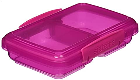 Sistema Lunch Collection Small Split Food Storage Container, 1.5 Cup, Assorted Colors (Sistema Klip It Split)