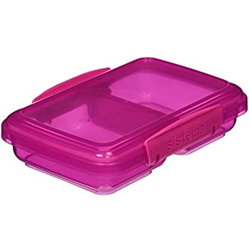Sistema Lunch Collection Small Split Food Storage Container, 1.5 Cup,  Assorted Colors