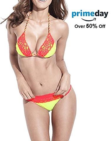 Push up Bikini Top Lace Cheeky Swimsuit Bottom Two Pieces Swimwear Yellow Red