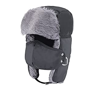 Prooral Unisex Winter Trooper Trapper Hat Hunting Hat Ushanka Ear Flap Chin Strap and Windproof Mask Nylon Russian Style Winter Ear Flap Hat for Men Women (Black.Blue) ...