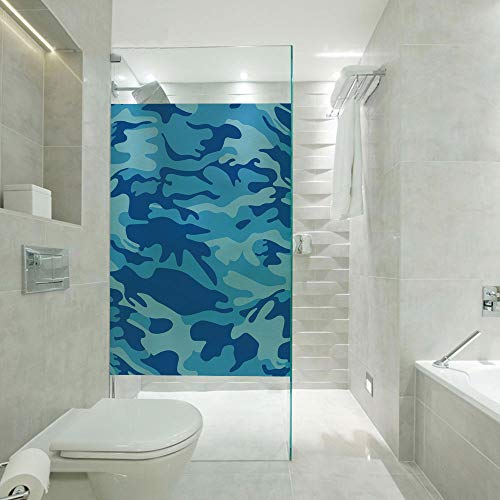 RWNFA Privacy Window Film Decorative Glass Sticker,Abstract Camo Navy Military Costume Concealment from The Enemy Hiding,Customizable Size,Suitable for Bathroom,Door,Glass etc,Pale Blue Navy Blue