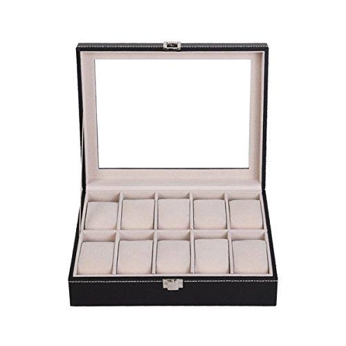 New PU Leather 10 Slots Wrist Watch Display Box Storage Holder Organizer Case