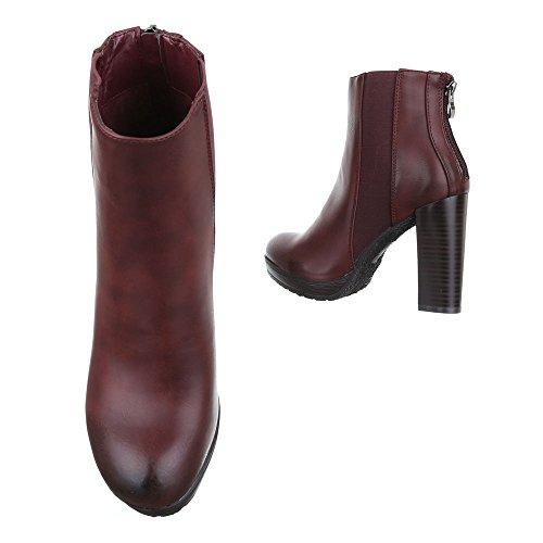 Ital-Design - Botas plisadas Mujer borgoña
