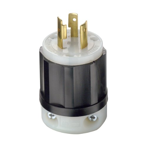 Leviton 2321 20 Amp, 250 Volt, NEMA L6-20P, 2P, 3W, Locking Plug, Industrial Grade, Grounding - Black-White (20 Nema Lock L6 Plug)