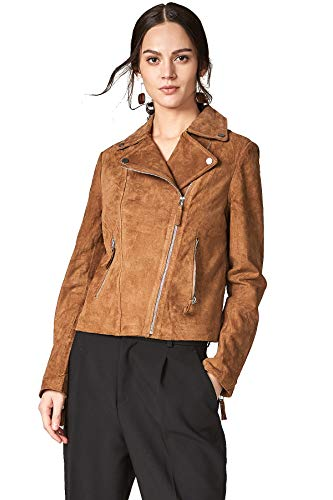 MEHEPBURN Women's Genuine Leather Moto Biker Jacket Coffee M (Genuine Suede Leather Ladies)