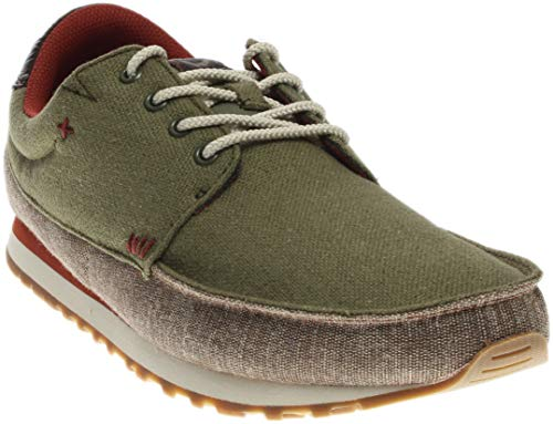 Sanuk Mens Beer Runner Sneaker Olive/Brown Size 10