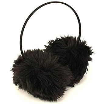 Winter Extra Fluffy Fuzzy Ski Earmuff Ear Warmer Black
