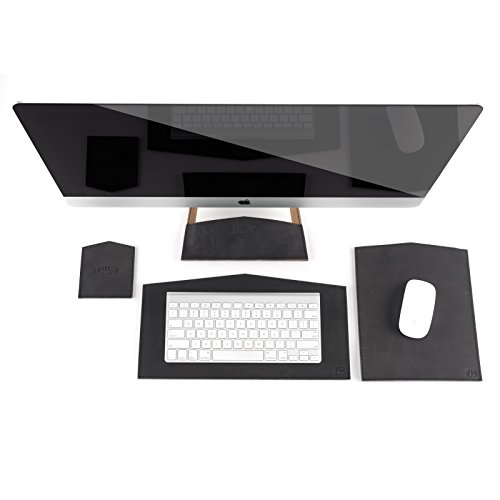 100% Full Grain Black Leather 4 Piece 27'' Apple Computer Desktop Set - Made in USA by Franklin Made (Image #8)