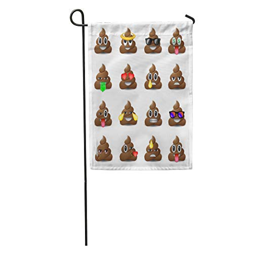 Semtomn Garden Flag Brown Poop of Shit Smiling Faces Symbol Emoji Emoticons Poo Home Yard House Decor Barnner Outdoor Stand 28x40 Inches Flag -