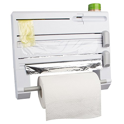 ConsWin 6-in-1 Wall Mount Paper Towel Holder, Plastic Wrap and Tin Foil Dispenser with Spice Rack (White)