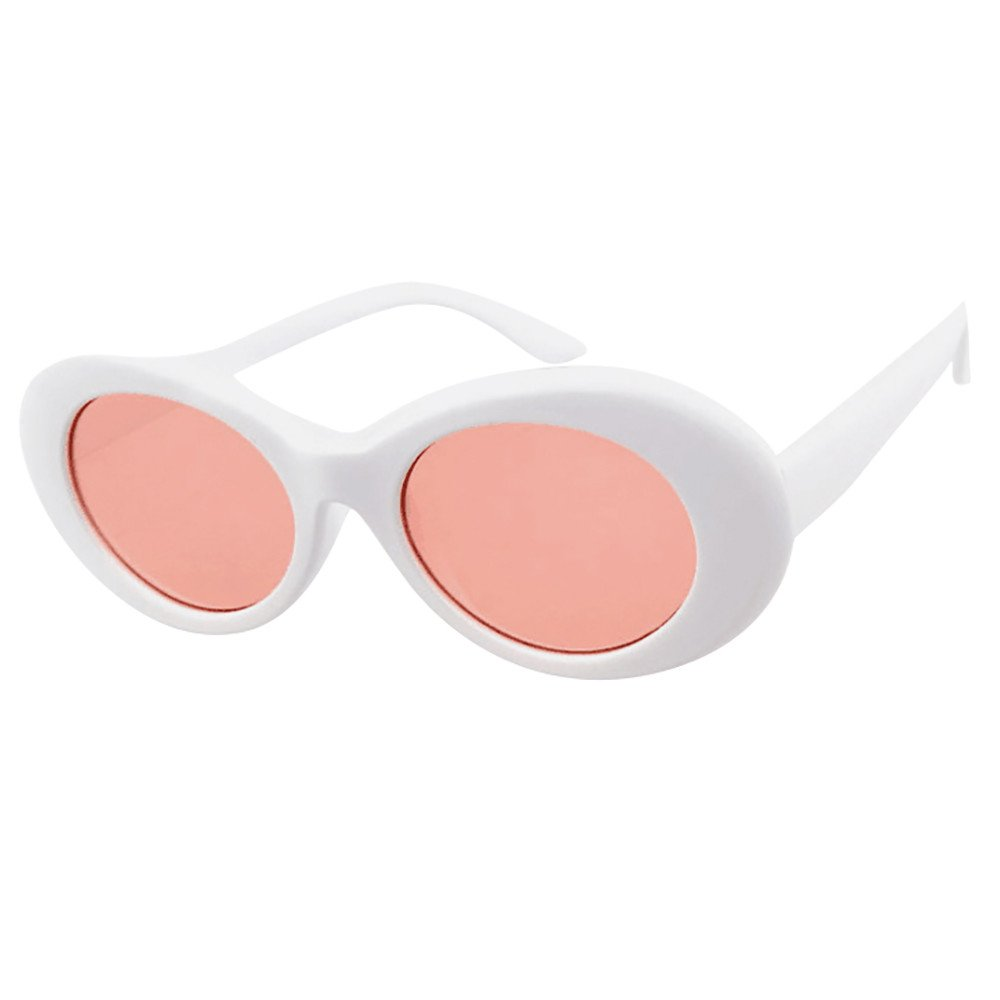 Unisex Bold Retro Rapper Oval Shades Thick Frame Sunglasses Round Lens Grunge Glasses Clout Goggles Beautyfine
