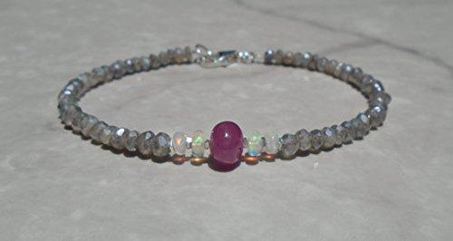 JP_Beads Sapphire Bracelet, Opal Bracelet, Ethiopian Opal, Pink Ruby Bracelet, Genuine Ruby, Labradorite Bracelet, Dainty Bracelet, Sterling Silver 3.5 mm