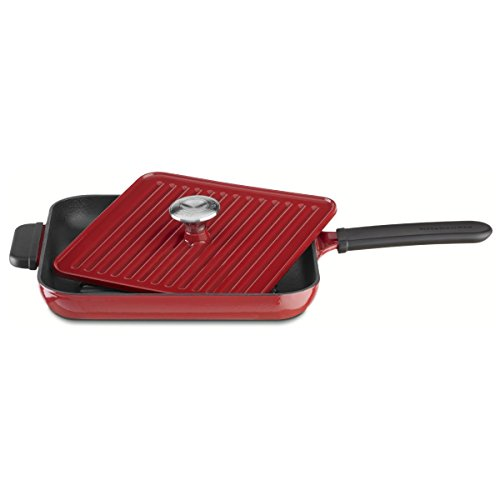 Kitchenaid Cookware Red Gourmet (KitchenAid KCI10GPER Cast Iron Grill and Panini Press Cookware - Empire Red)