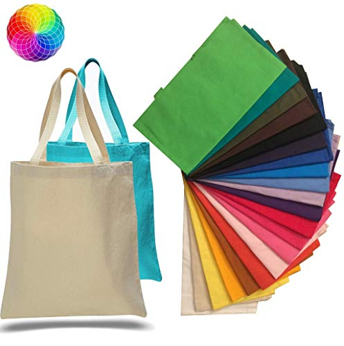 (12 Pack) 1 Dozen - Promotional Canvas Tote Bags Assorted Colors by ToteBagFactory