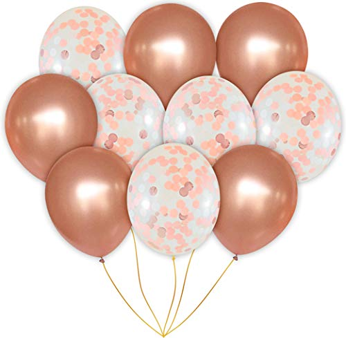 Modern Jubilee Elegant Rose Gold Balloons (20 Pack Confetti and Solid Balloon Set, 18 Inches)