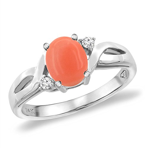 14K White Gold Diamond Natural Coral Engagement Ring Oval 8x6 mm, size 6