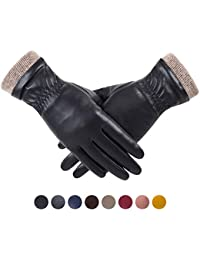 Winter Leather Gloves for Women, Wool Fleece Lined Warm Gloves, Touchscreen Texting Thick Thermal Snow Driving Gloves