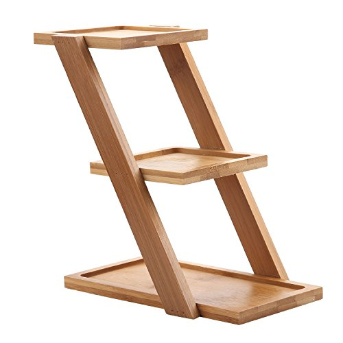 T4U 7.25 Inch bamboo Plant Stand Shelf Holds 3-Flower Pot Planters Holder Planters Stand - Bamboo Flower Stand