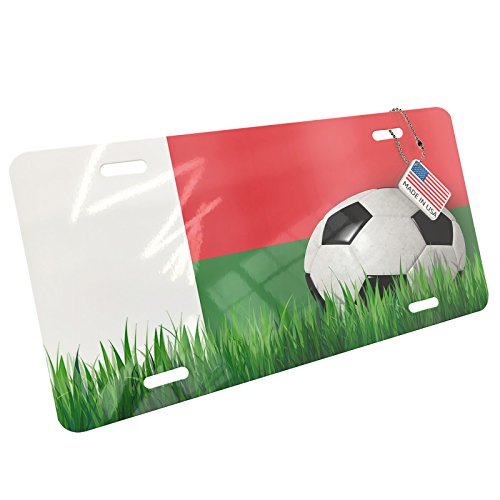 Metal License Plate Soccer Team Flag Madagascar - Neonblond by NEONBLOND