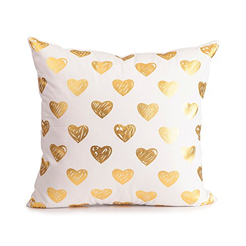 Mealivos Gold heart Decorative Throw Pillow COVER 18""