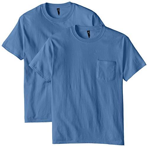Hanes Mens 2 Pack Short Sleeve Pocket Beefy-t, Denim Blue, Medium