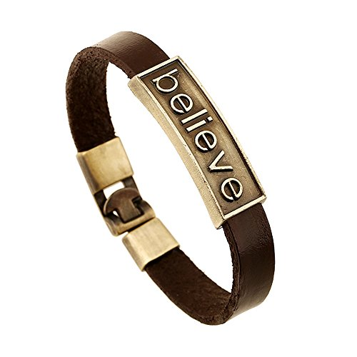 CHOA Vintage Believe Self-Confident Leather Bracelet and I Love Jesus Adjustable Punk leather Bracelet (BELIEVE) by CHOA (Image #7)