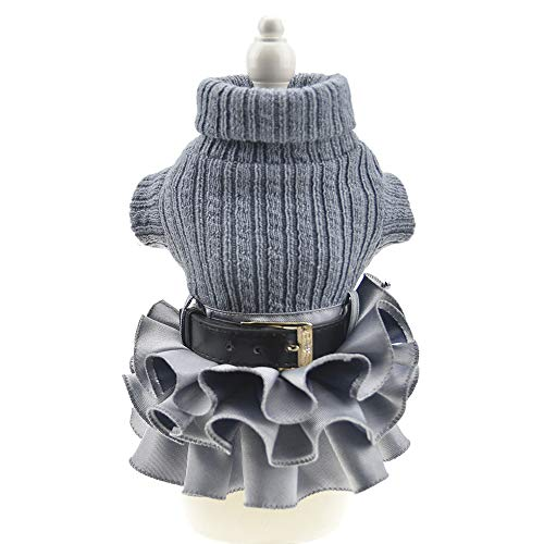 FLAdorepet Winter Warm Dog Sweater Dress Tutu Skirt Pet Cat Knitted Clothes for Small Medium Dog Girls (XL, Grey)