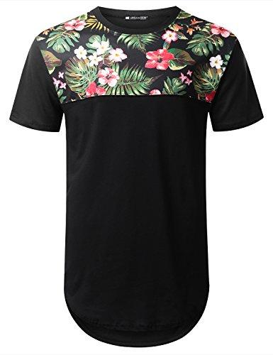 URBANTOPS Mens Hipster Hip Hop Floral Panel Longline T-Shirt Black, S by URBANTOPS